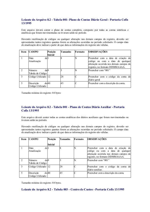 Leiaute do Arquivo 8.2 - Tabela 001- Plano de Contas Diário Geral - Portaria Cofis13/1995Este arquivo deverá conter o plan...