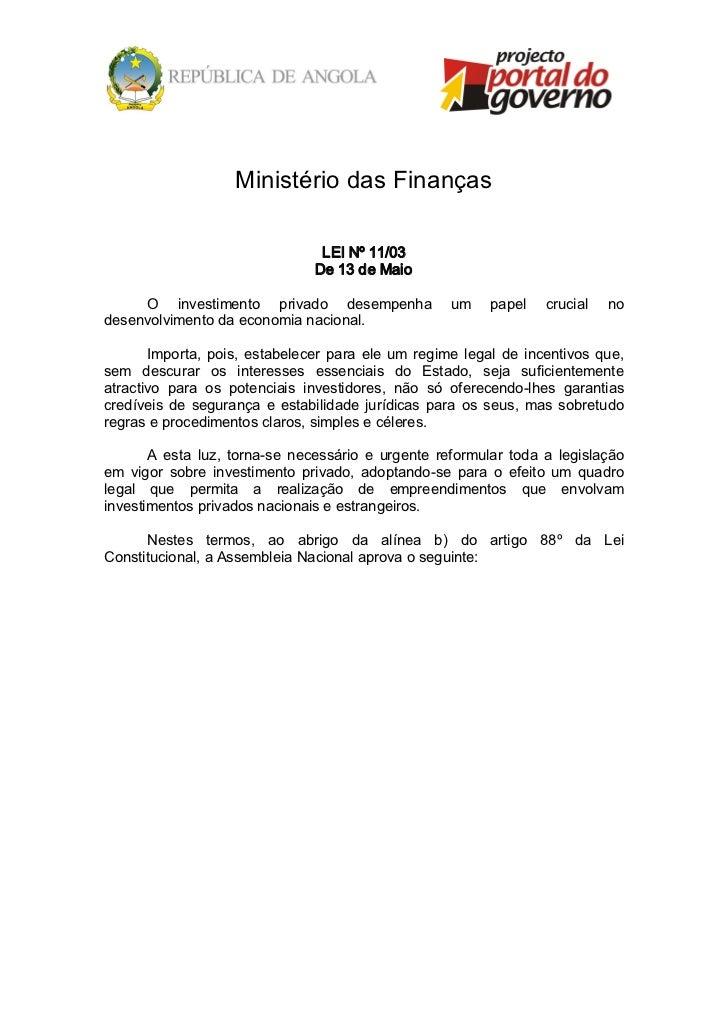 MinistériodasFinanças                                    LEINº11/03                                   De13deMaio...
