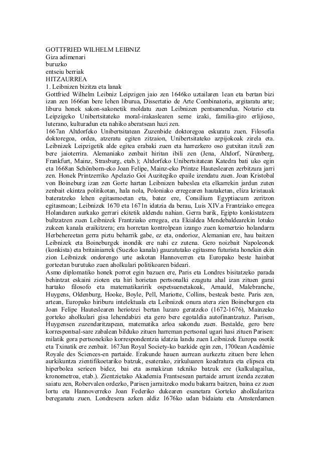 GOTTFRIED WILHELM LEIBNIZGiza adimenariburuzkoentseiu berriakHITZAURREA1. Leibnizen bizitza eta lanakGottfried Wilhelm Lei...