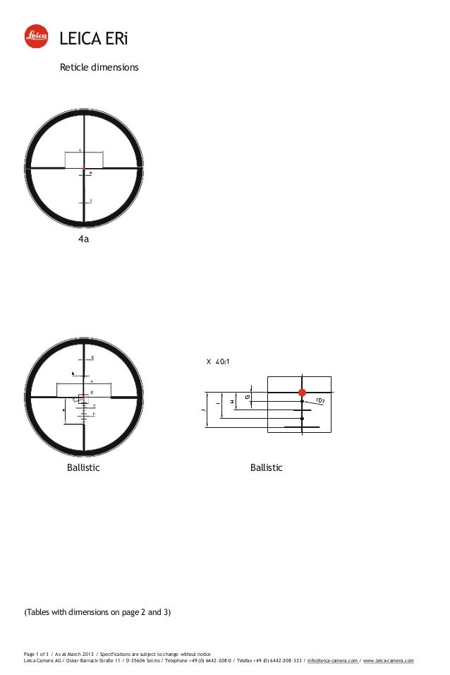 Technical data LEICA ERi Riflescopes Reticles Subtensions