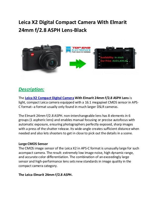 Leica x2 digital compact camera with elmarit 24mm f2 8 asph