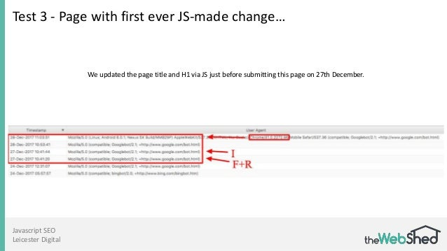 Javascript SEO Leicester Digital Test 3 - Page with first ever JS-made change… We updated the page title and H1 via JS jus...