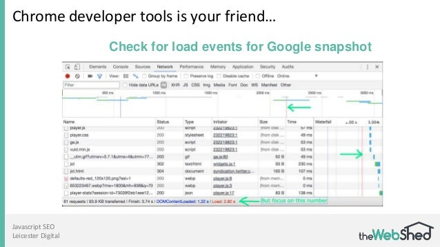 Javascript SEO Leicester Digital Chrome developer tools is your friend… Check for load events for Google snapshot
