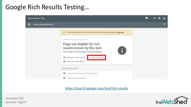 Javascript SEO Leicester Digital Google Rich Results Testing… https://search.google.com/test/rich-results