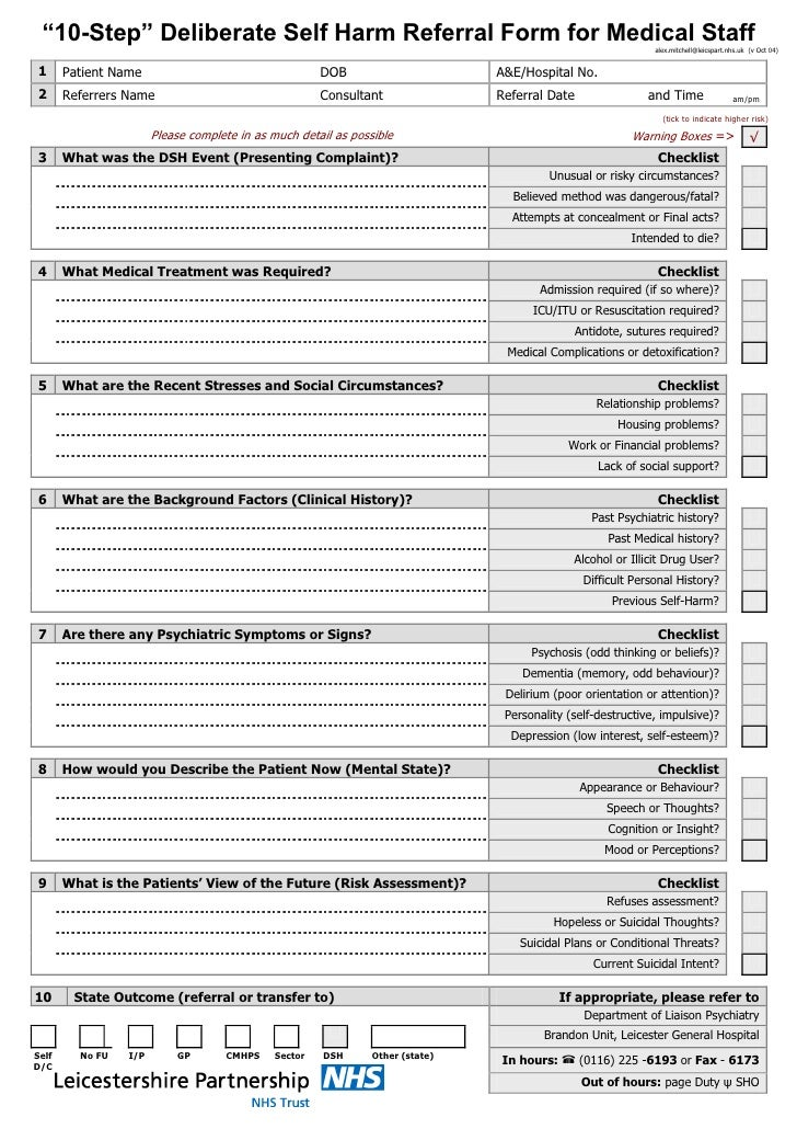 Leicestershire sh10 self harm assessment form for Risk assessment template mental health