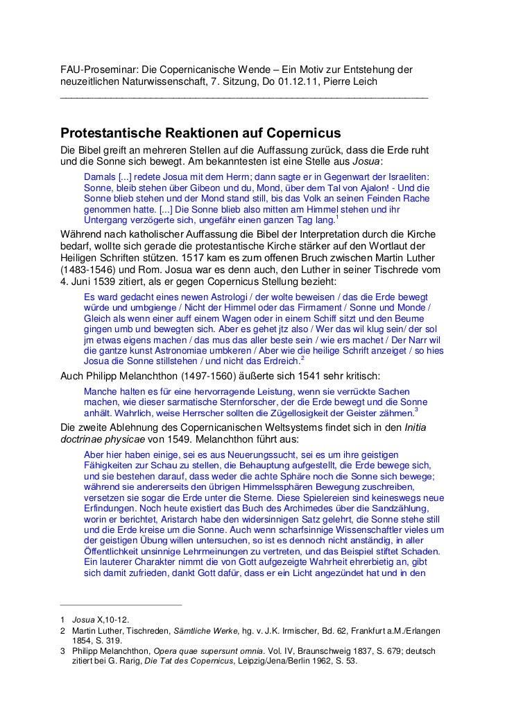 FAU-Proseminar: Die Copernicanische Wende – Ein Motiv zur Entstehung derneuzeitlichen Naturwissenschaft, 7. Sitzung, Do 01...