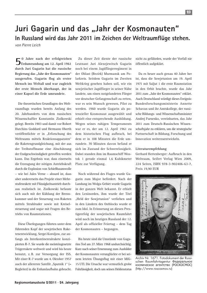 """23Juri Gagarin und das """"Jahr der Kosmonauten""""In Russland wird das Jahr 2011 im Zeichen der Weltraumflüge stehen.von Pierre..."""