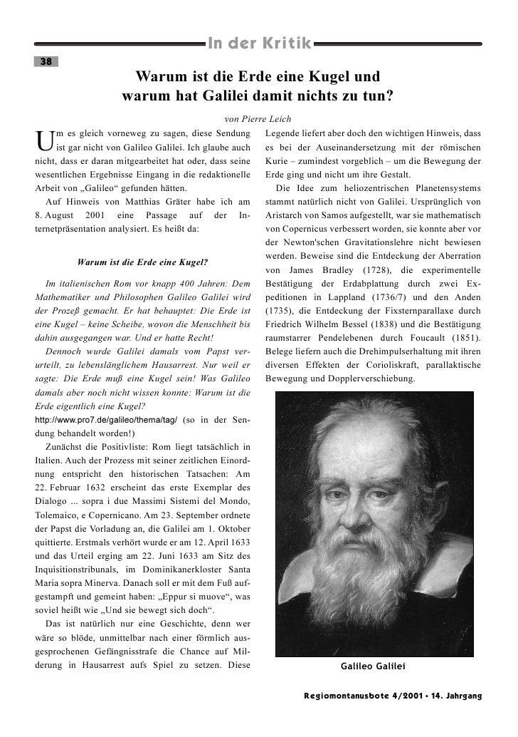 In der Kritik 38                       Warum ist die Erde eine Kugel und                      warum hat Galilei damit nich...