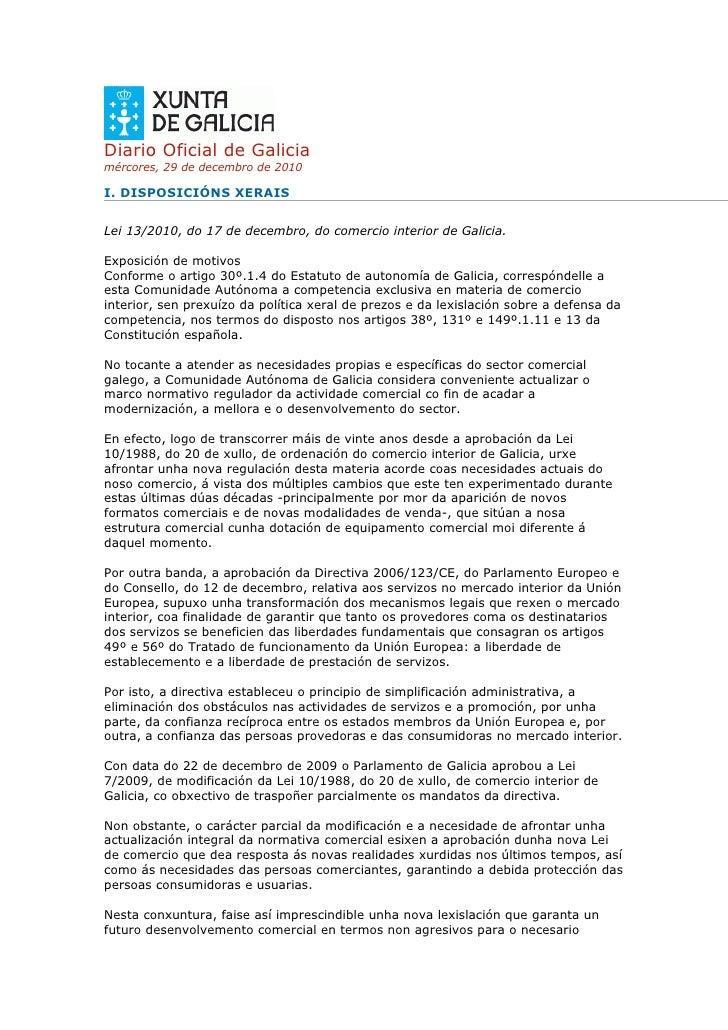 Diario Oficial de Galiciamércores, 29 de decembro de 2010I. DISPOSICIÓNS XERAISLei 13/2010, do 17 de decembro, do comercio...