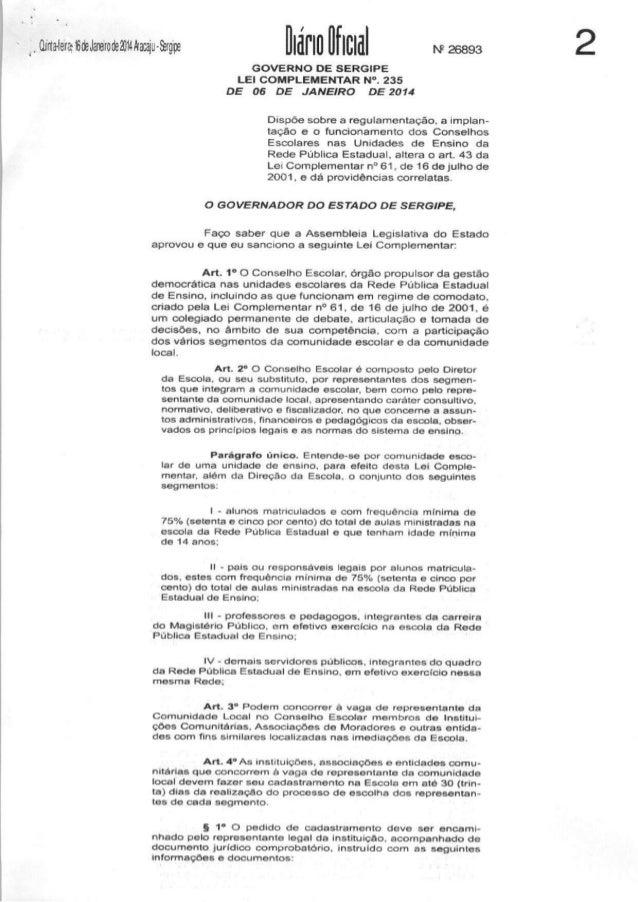 Lei complementar nº 235 de 06 de jan 2014