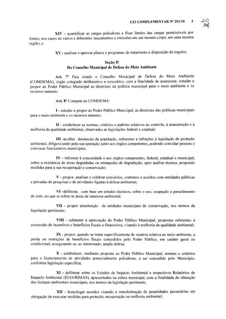 Lei complementar no 251 de 2010 (artigos relacionados ao comdema)