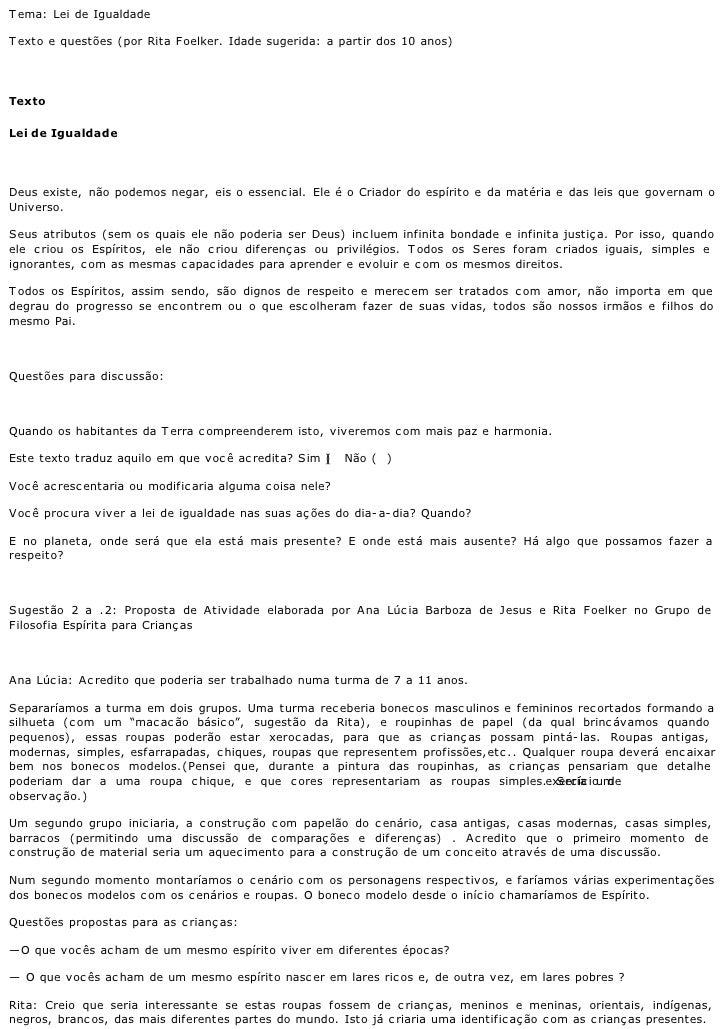 T ema: Lei de Igualdade  T exto e questões (por Rita Foelker. Idade sugerida: a partir dos 10 anos)     Texto  Lei de Igua...