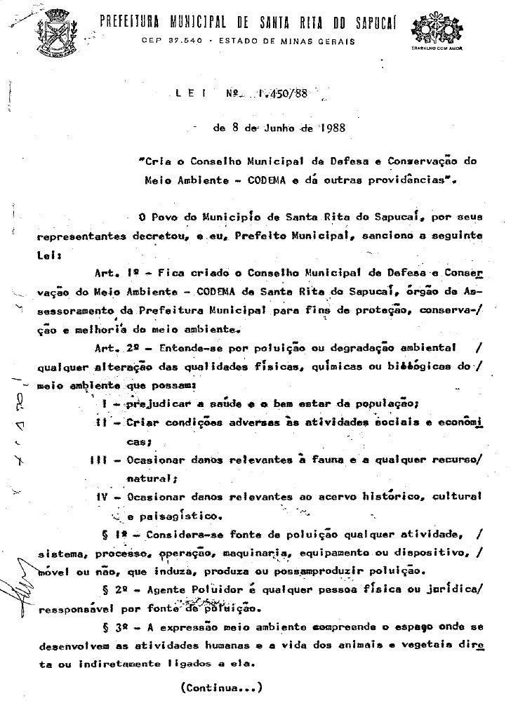 Lei de Criação do CODEMA de Santa Rita do Sapucaí - MG - Lei Nº. 1.450/88 de 08 de junho de 1988