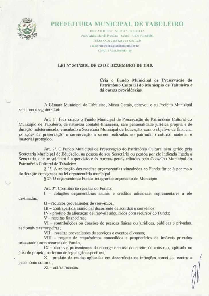 Lei de Criação do Fundo de Patrimônio Cultural