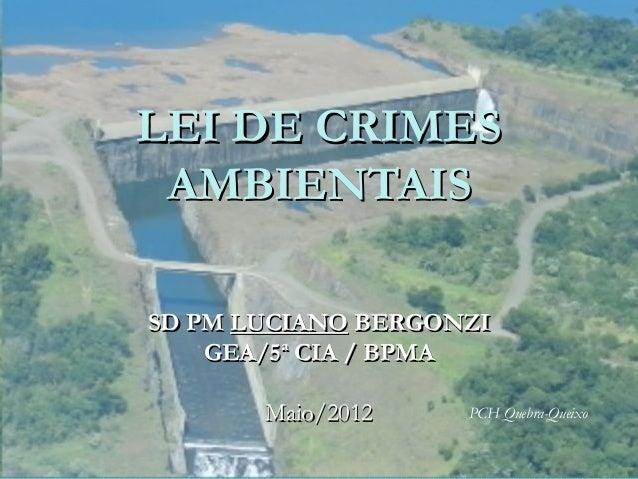 LEI DE CRIMESLEI DE CRIMES AMBIENTAISAMBIENTAIS SD PMSD PM LUCIANOLUCIANO BERGONZIBERGONZI GEA/5ª CIA / BPMAGEA/5ª CIA / B...