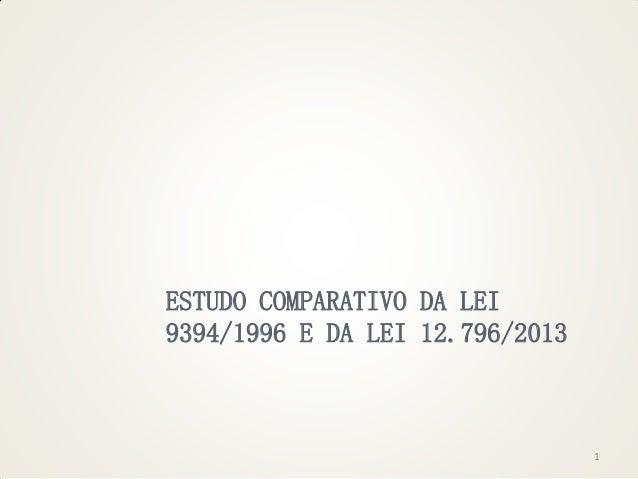 ESTUDO COMPARATIVO DA LEI 9394/1996 E DA LEI 12.796/2013  1