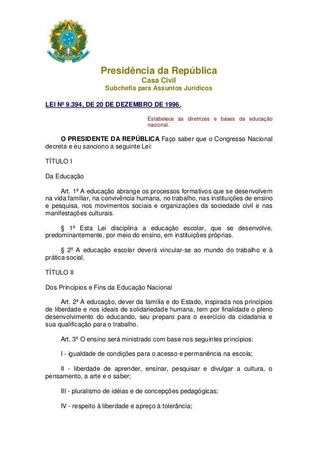 Presidência da RepúblicaCasa CivilSubchefia para Assuntos JurídicosLEI Nº 9.394, DE 20 DE DEZEMBRO DE 1996.Estabelece as d...