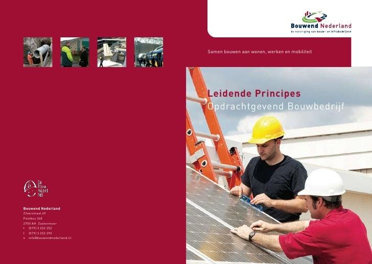 Samen bouwen aan wonen, werken en mobiliteit                                  Leidende Principes                          ...