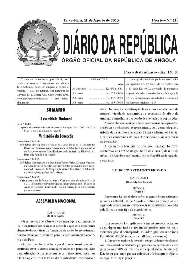 Nova Lei sobre o Investimento Privado Angola 14/15