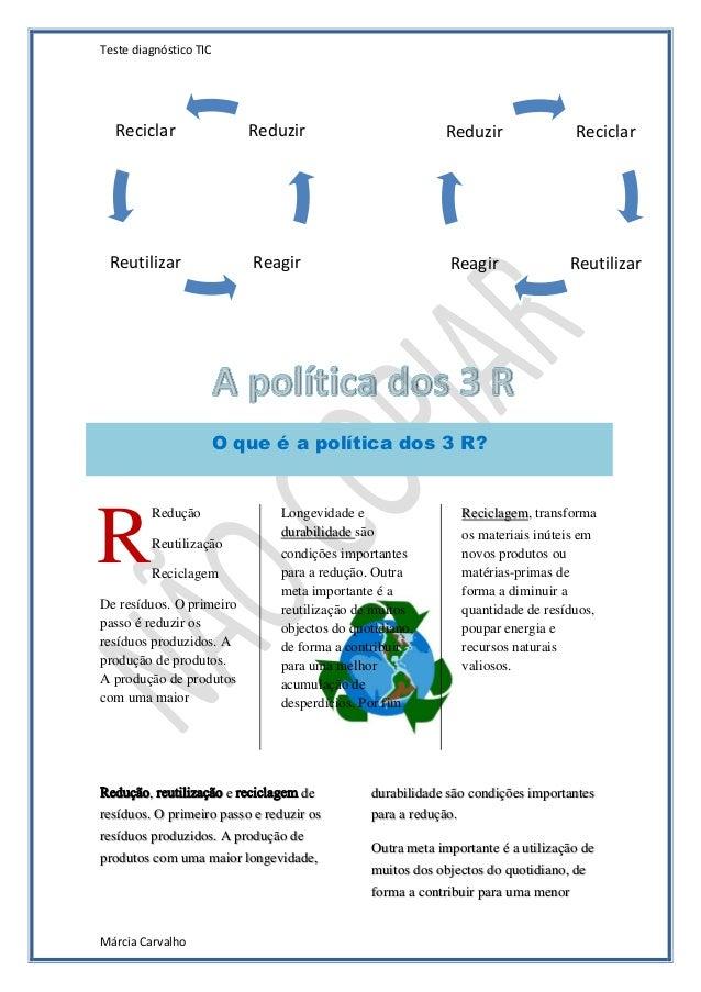 Teste diagnóstico TIC  Reciclar  Reduzir  Reduzir  Reciclar  Reutilizar  Reagir  Reagir  Reutilizar  O que é a política do...