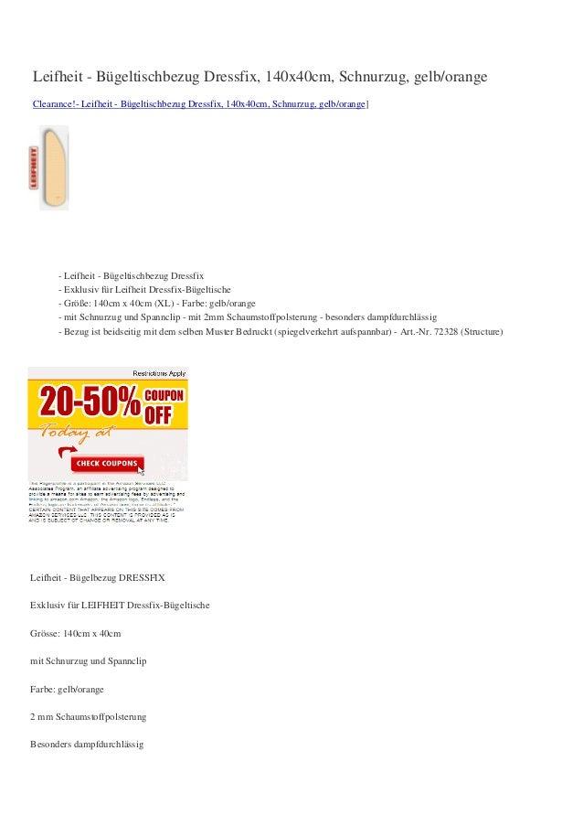 Leifheit - Bügeltischbezug Dressfix, 140x40cm, Schnurzug, gelb/orangeClearance!- Leifheit - Bügeltischbezug Dressfix, 140x...
