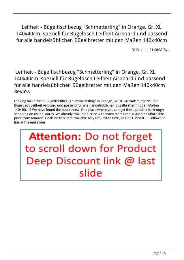"""Leifheit - Bügeltischbezug """"Schmetterling"""" in Orange, Gr. XL 140x40cm, speziell für Bügeltisch Leifheit Airboard und passe..."""