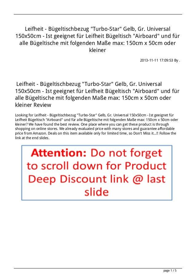 """Leifheit - Bügeltischbezug """"Turbo-Star"""" Gelb, Gr. Universal 150x50cm - Ist geeignet für Leifheit Bügeltisch """"Airboard"""" und..."""