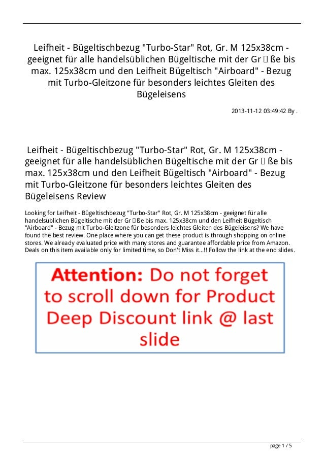 """Leifheit - Bügeltischbezug """"Turbo-Star"""" Rot, Gr. M 125x38cm geeignet für alle handelsüblichen Bügeltische mit der Größe bi..."""