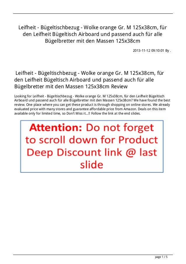 Leifheit - Bügeltischbezug - Wolke orange Gr. M 125x38cm, für den Leifheit Bügeltisch Airboard und passend auch für alle B...