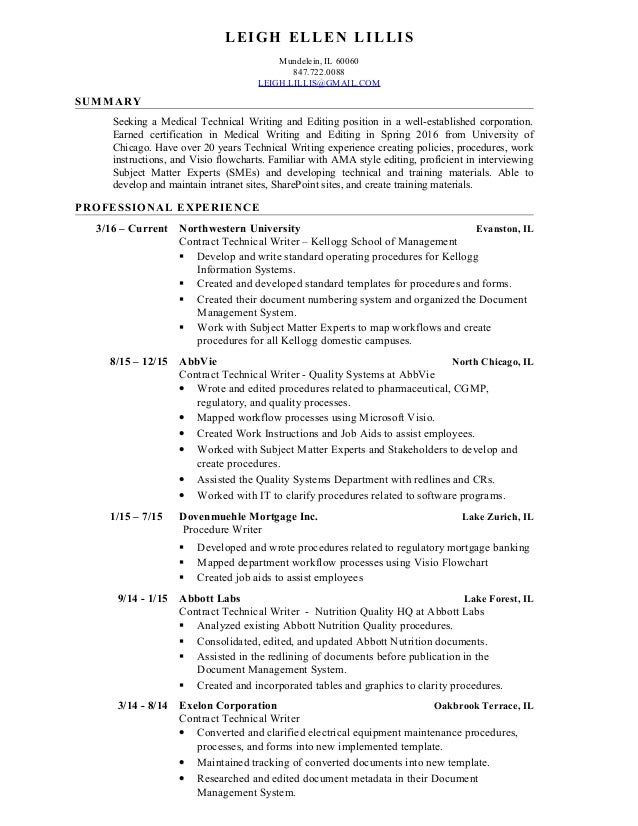 leigh lillis medical technical writing and editing resume 8 2016 leigh ellen lillis mundelein il 60060 8477220088 leighlillisgmail - How To Write A Tech Resume