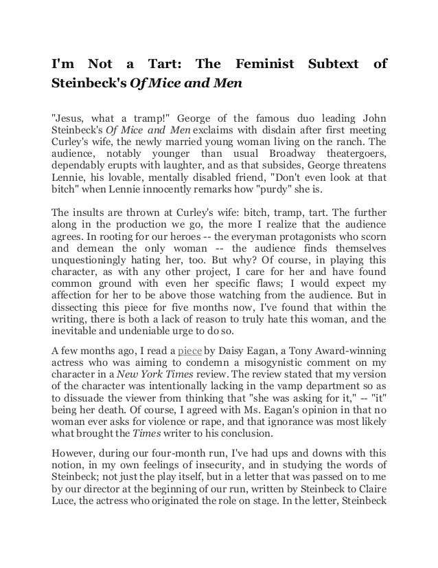 essay on mice and men lennie Background john steinbeck's classic novella of mice and men, first published in 1937, is a story of george and lennie, two migrant workers during the great depressionthey go from place to place .
