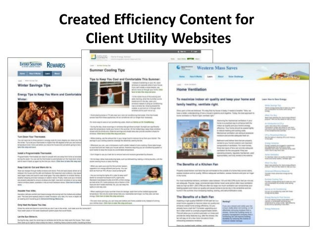 Created Efficiency Content for Client Utility Websites