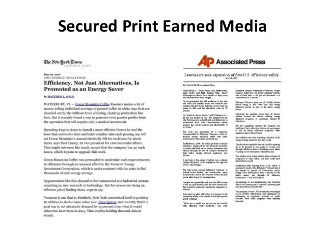 Secured Print Earned Media