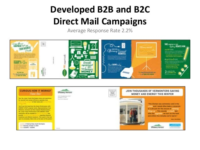 Developed B2B and B2C Direct Mail Campaigns Average Response Rate 2.2%