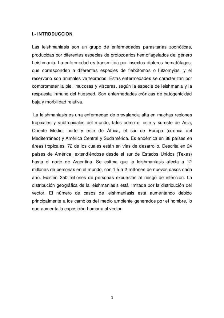I.- INTRODUCCION <br />Las leishmaniasis son un grupo de enfermedades parasitarias zoonóticas, producidas por diferentes e...