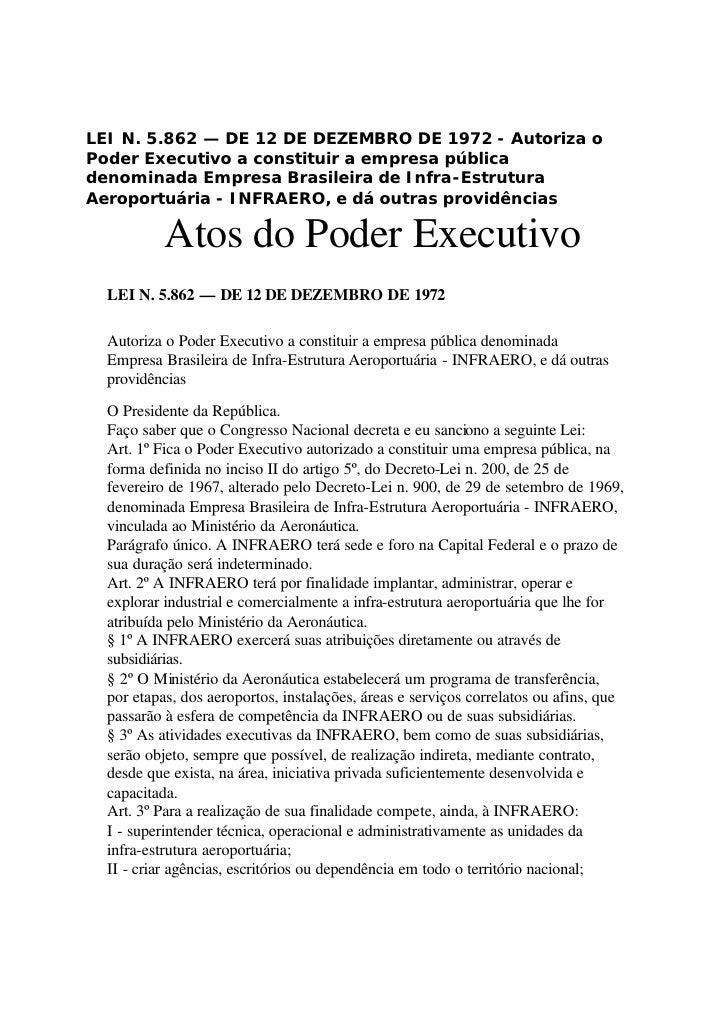 LEI N. 5.862 — DE 12 DE DEZEMBRO DE 1972 - Autoriza o Poder Executivo a constituir a empresa pública denominada Empresa Br...