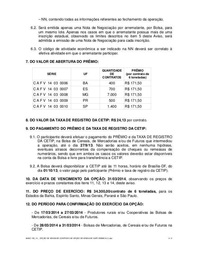 Leil O Op Es Aviso 155 2013 Op O De Venda De Contrato De