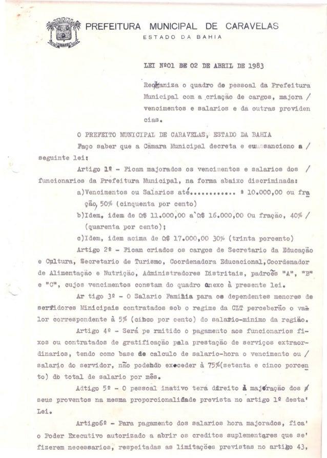 PREFEITURA MUNICIPAL DE CARAVELASESTADO DA BAHIALEI NºOl aIlE 02 DE ABRIL DE 1983Re~iza o quadro de pessoal da PrefeituraM...