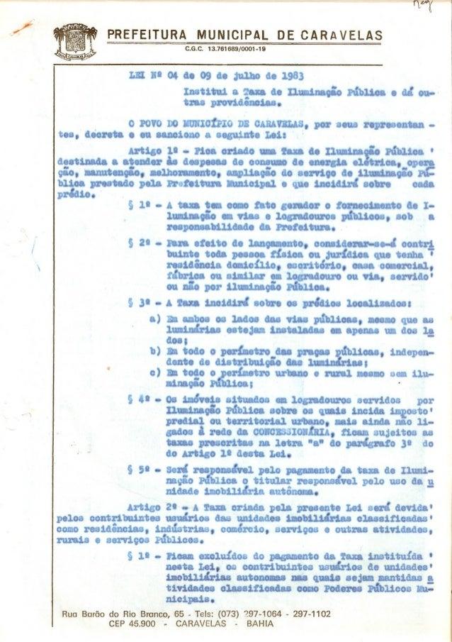 ...C.G.C. 13.761689/0001-19PREFEITURA MUN ICIPAL OE C A R A V ELAS.;I,tni- Ruo Barão do Rio Bronco, 65 . Tels: (073) 297-1...