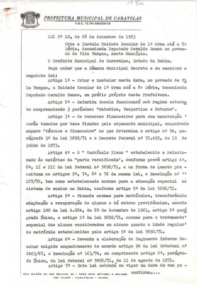 """. .("""" .~;~,.. .-..••...,.PREFEITURA lIfDNICIPAL DE CARAVELA8C.G.C. 13.791.689/000-19LEI NQ10, de 28 de dezembrode 1983Cria..."""