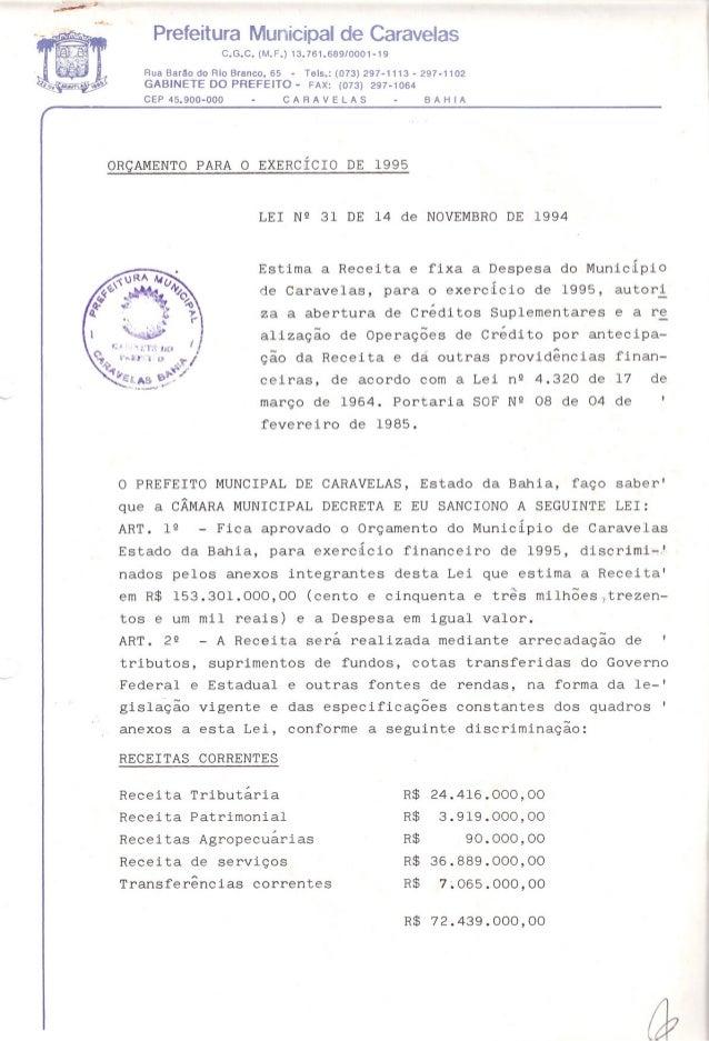 Prefeitura Municipal de CaravelasC.G.C. (M.F.) 13.761.689/0001-19Rua Barão do Rio Branco, 65 - Tels.: (073) 297-1113 - 297...
