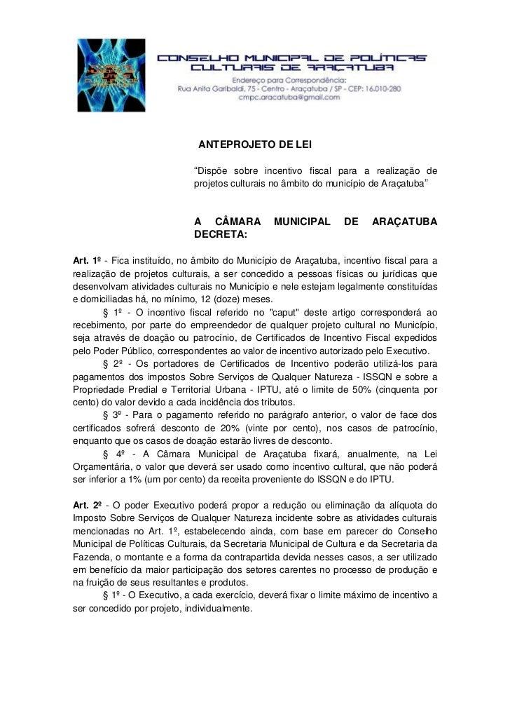 """ANTEPROJETO DE LEI                               """"Dispõe sobre incentivo fiscal para a realização de                      ..."""