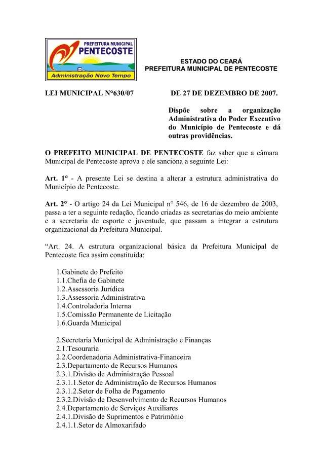Lei municipal nº 630   estrutura administrativa de pentecoste
