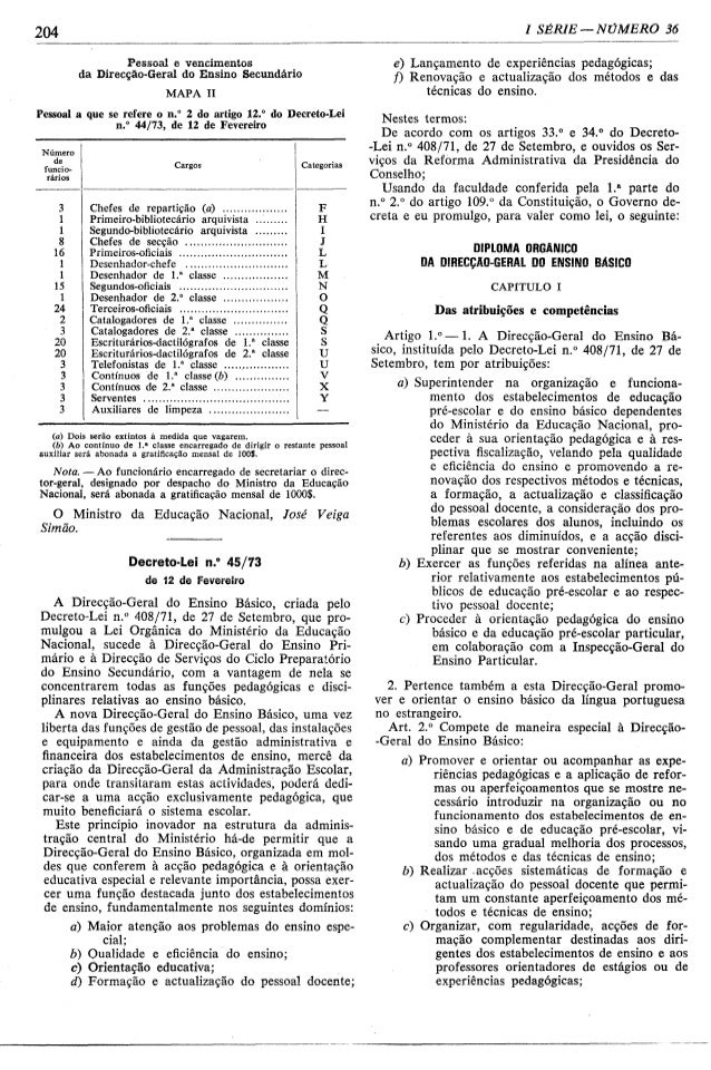 Lei n.º 45barrra73, de 12 de fevereiro