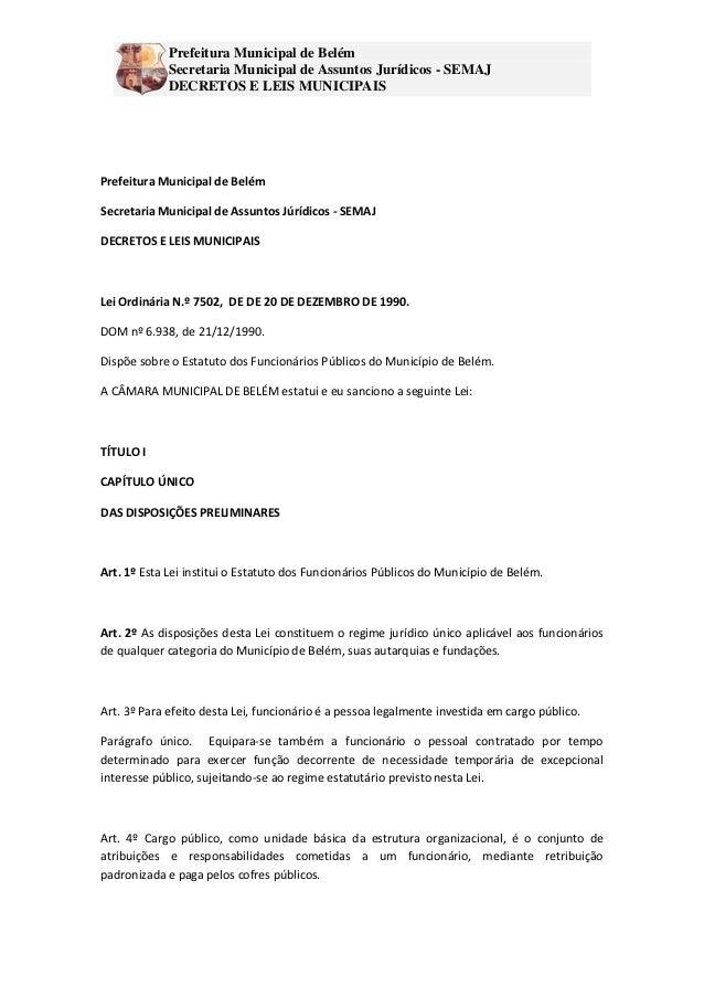 Prefeitura Municipal de Belém             Secretaria Municipal de Assuntos Jurídicos - SEMAJ             DECRETOS E LEIS M...