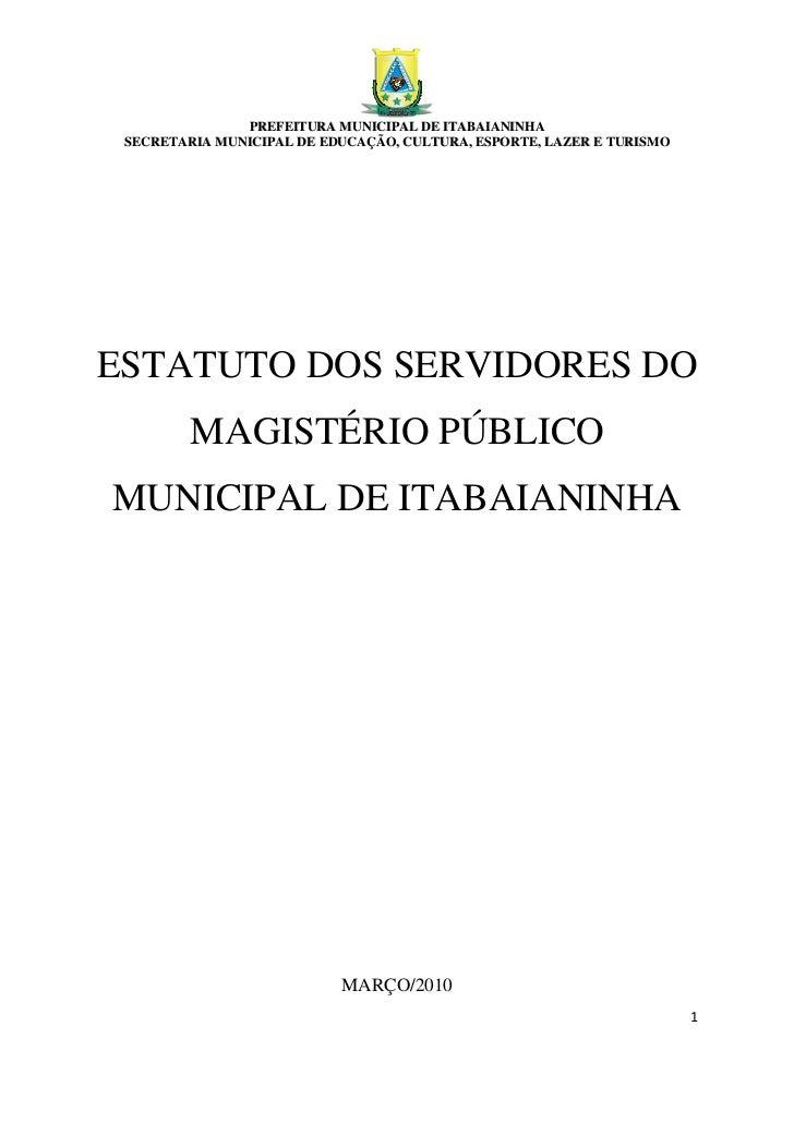 &               PREFEITURA MUNICIPAL DE ITABAIANINHA SECRETARIA MUNICIPAL DE EDUCAÇÃO, CULTURA, ESPORTE, LAZER E TURISMOES...