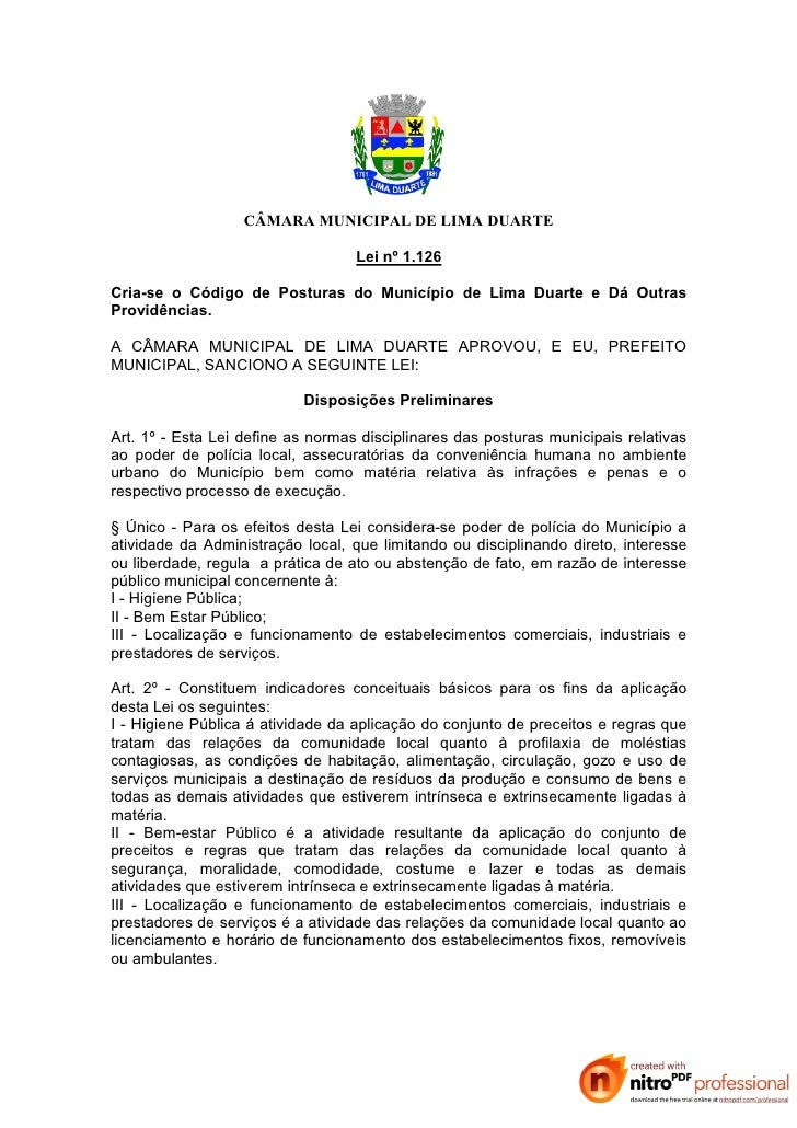 CÂMARA MUNICIPAL DE LIMA DUARTE                                     Lei nº 1.126  Cria-se o Código de Posturas do Municípi...