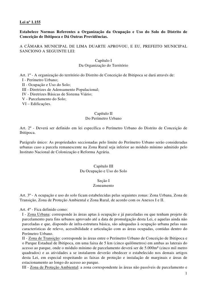 Lei nº 1.155  Estabelece Normas Referentes a Organização da Ocupação e Uso do Solo do Distrito de Conceição de Ibitipoca e...