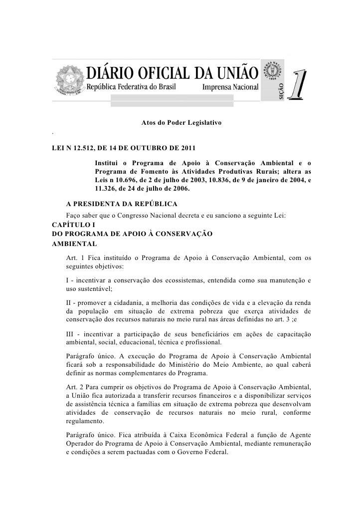 Lei nº 12.512 politica de conservação ambiental