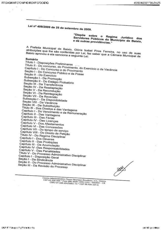 PREFEITURA MUNICIPAL DE BAIXIO 23/11/2011 - 14:52:53 SISDIR - Sistema de Digitalização sisdir@email.com